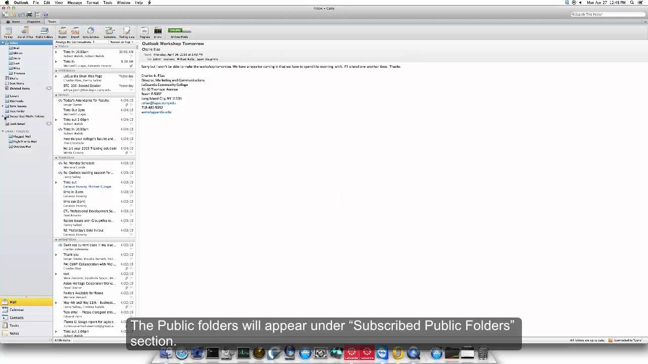 How to Open Public Folders for Mac Outlook Client '11