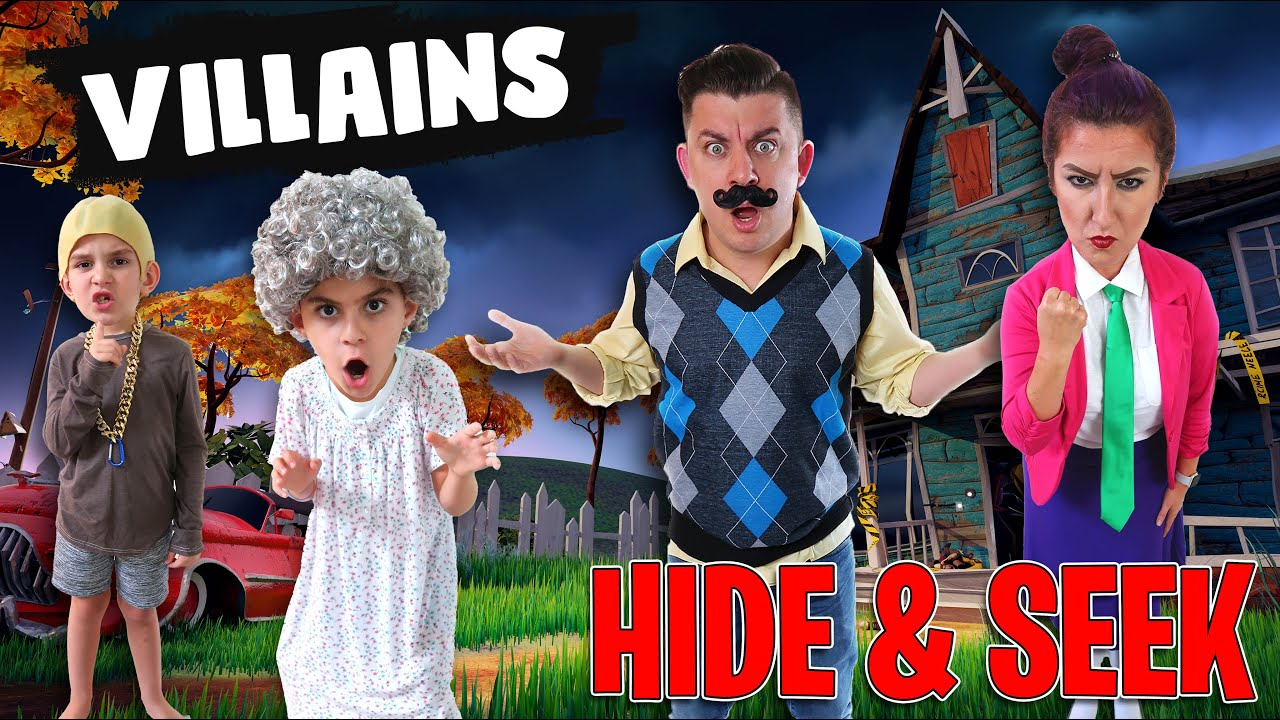 VILLAINS HIDE & SEEK CHALLENGE! Granny, Hello Neighbor, Scary Teacher, Grandpa IN REAL LIFE!