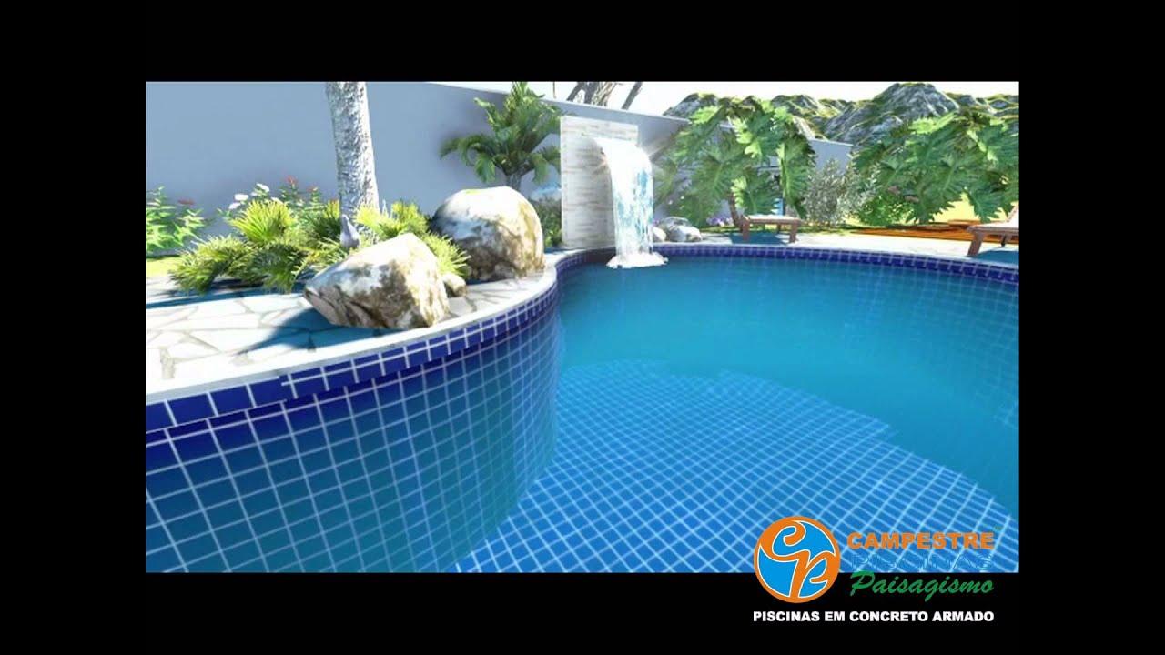 Projeto e execu o de piscina de concreto armado campestre for Modelos de piscinas para fincas