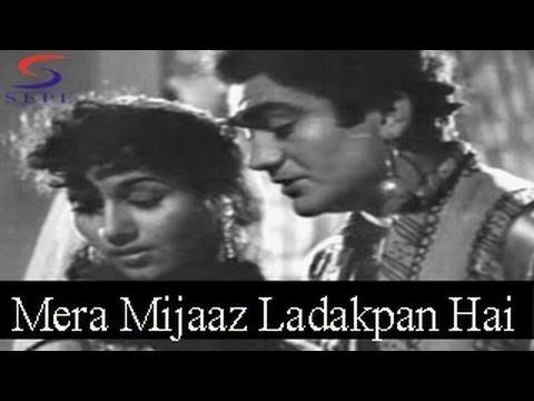 mera-mizaj-ladakpan-hai---lata-mangeshkar,-mohammed-rafi-@-saqi---prem-nath,-madhubala