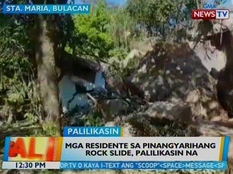 BT: Mga residente sa pinangyarihang rock slide sa Bulacan, palilikasin na