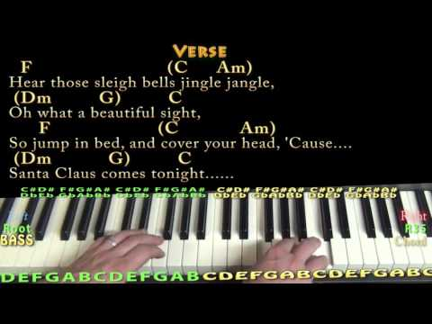 Here Comes Santa Claus - Piano Cover Lesson in C with Chords/Lyrics