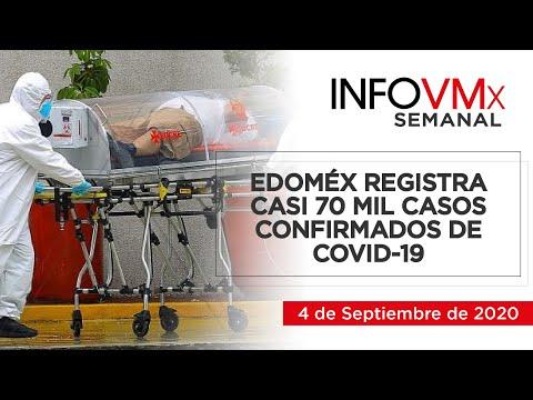 EDOMÉX REGISTRA CASI 70 MIL CASOS CONFIRMADOS DE COVID 19; INFOVMx a 4 de Septiembre, 2020
