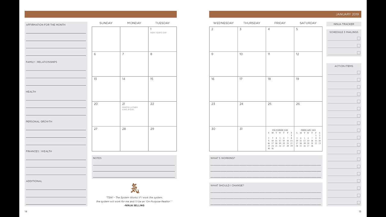 Monthly View  Ninja Planner 2019
