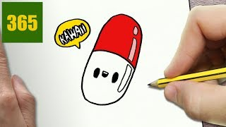 HOW TO DRAW A PILLS CUTE, Easy step by step drawing lessons for kids