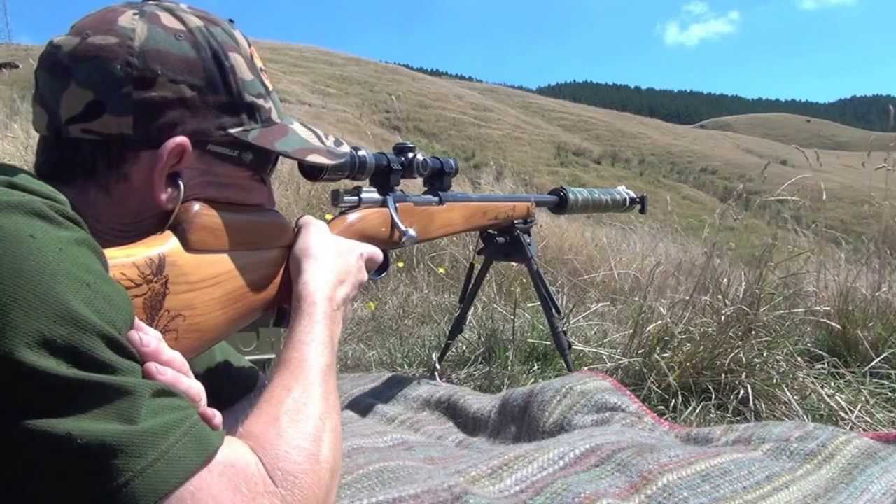 Home built Mauser rifle stock in action