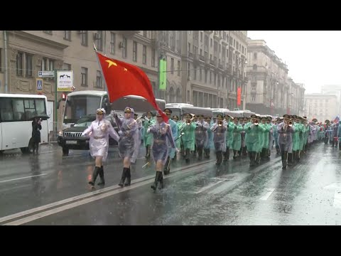 China Military Band Takes Part in Moscow City Day Street Parade