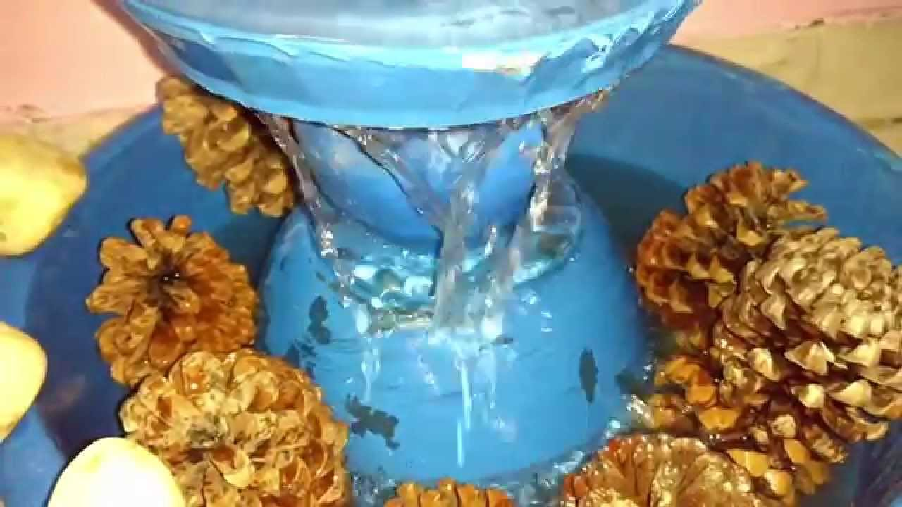 Make water fountain at home with waste things youtube for Things made out of waste