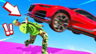 DUCK Or GET HIT By A 350MPH CAR! (GTA 5 Cars vs. Runners)