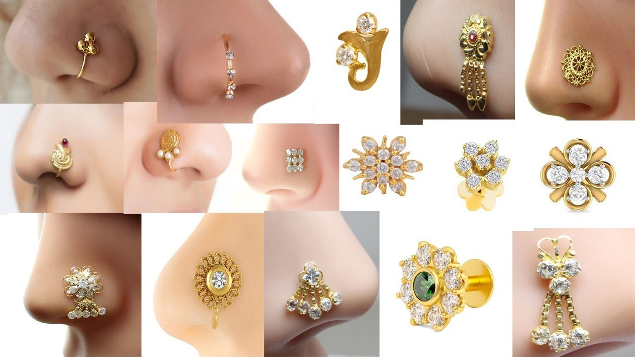 Download Latest gold Nose Pin Stud Designs | Daily use Nose Ring Collections | Traditional nose Pin