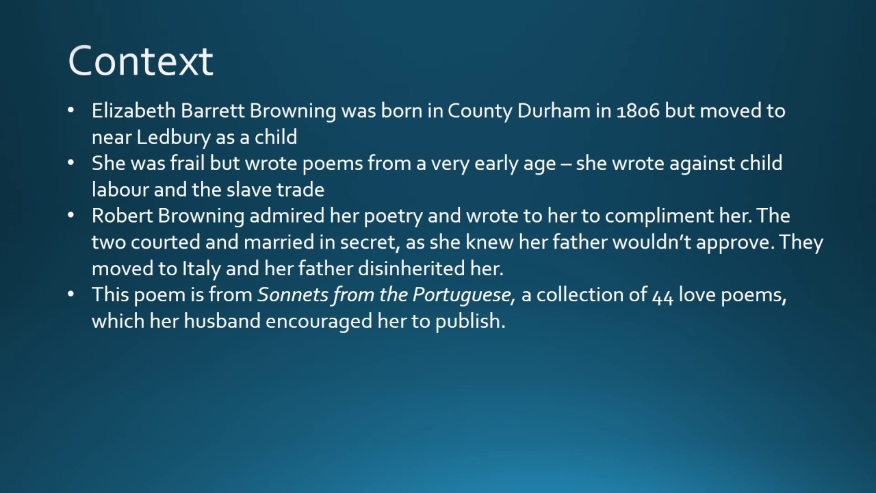 Discribtive Essay Sonnet  By Elizabeth Barrett Browning Gcse Analysis  Youtube Essay Writing Education also Qualities Of A Leader Essay Sonnet  By Elizabeth Barrett Browning Gcse Analysis  Youtube Cause And Effect Essay Conclusion