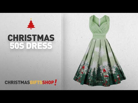 Top Christmas 50S Dress Ideas: KILLREAL Women's 1950s Cut Out V-Neck Vintage Casual Cocktail Swing