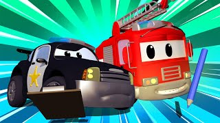 Police car for kids -  Mystery of the Bricks in the Road - Car Patrol in Car City !