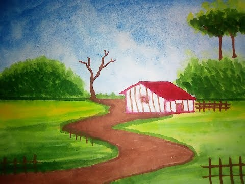 Natural Village Scenery Painting l ART'S ABILITY l BY TR Shawon