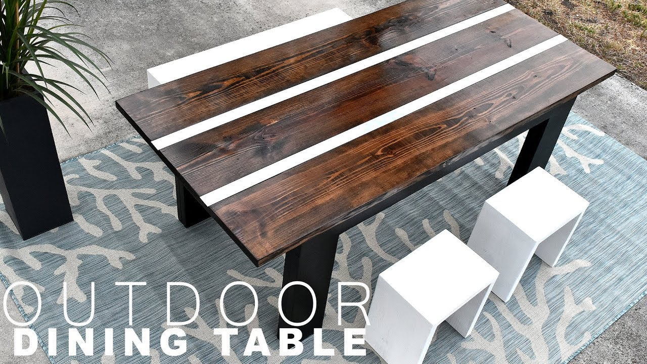 diy outdoor dining table with aluminum inlay youtube