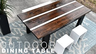 How I made my OUTDOOR DINING TABLE | with aluminum inlay