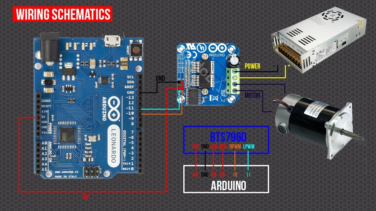 diy arduino forcefeedback steering wheel part3 h bridge bts7960 driver [ 1280 x 720 Pixel ]