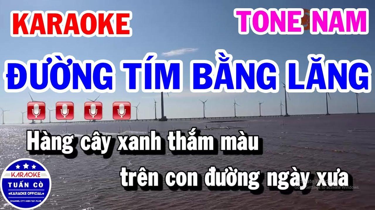 Download Karaoke Đường Tím Bằng Lăng Tone Nam Dm Nhạc Sống Hay | Karaoke Tuấn Cò