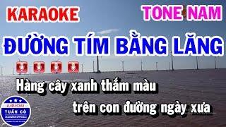 Karaoke Đường Tím Bằng Lăng Tone Nam Dm Nhạc Sống Hay | Karaoke Tuấn Cò