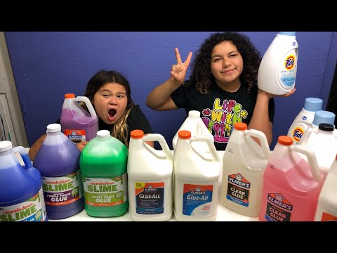 GIANT GLUE SLIME SMOOTHIE - MIXING ALL OUR GALLONS OF GLUE TOGETHER FOR SLIME