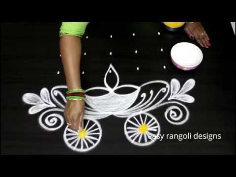 Radhasaptami special  rangoli designs || new  Radham muggulu with 5 dots || easy Radham kolam