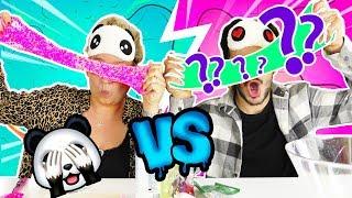 BLIND PANDA SLIME CHALLENGE ? Eva vs Claudio | WER macht BLIND den besten Schlime | DIY Kids
