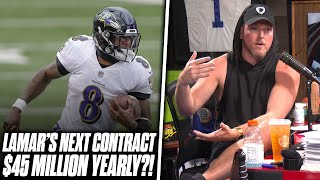 Pat McAfee Reacts: Lamar Jackson Contract Expected To Be $40-$45 Million Yearly?!