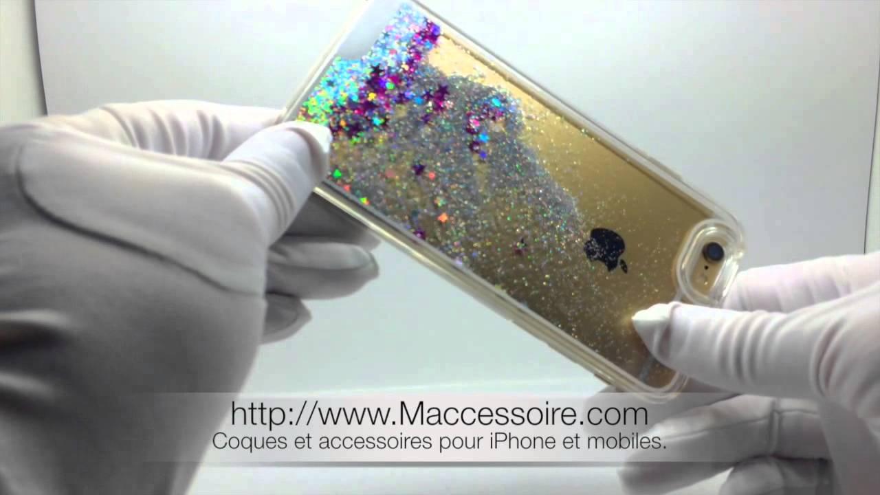 coque iphone 6 avec eau et paillette