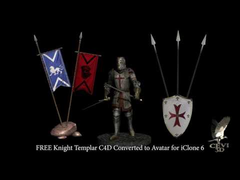 FREE Knight Templar C4D Converted to Avatar for iClone 6 + Props