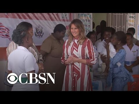 Melania Trump visits children's clinic, Ghana's first lady on Africa tour