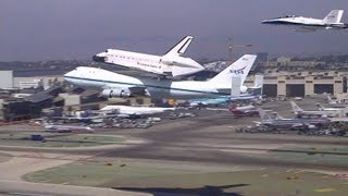 Space Shuttle Flys Piggyback on Boeing 747 - Low Pass at LAX