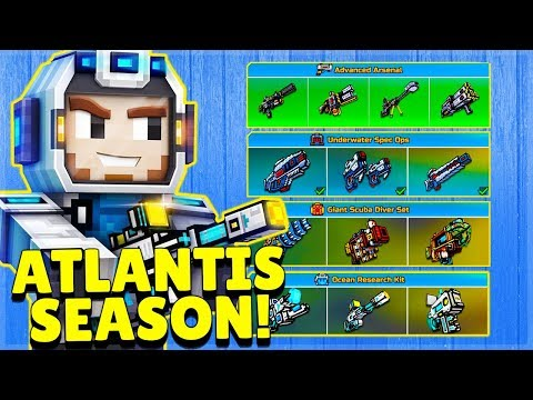 ✅ATLANTIS BATTLE PASS - 10 NEW MYTHICAL WEAPONS, CLUSTER BOMB RE-WORKED   Pixel Gun 3D 17.7.0