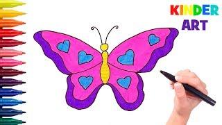 Как нарисовать бабочку поэтапно Видео для детей | How to draw a butterfly Coloring Page for kids
