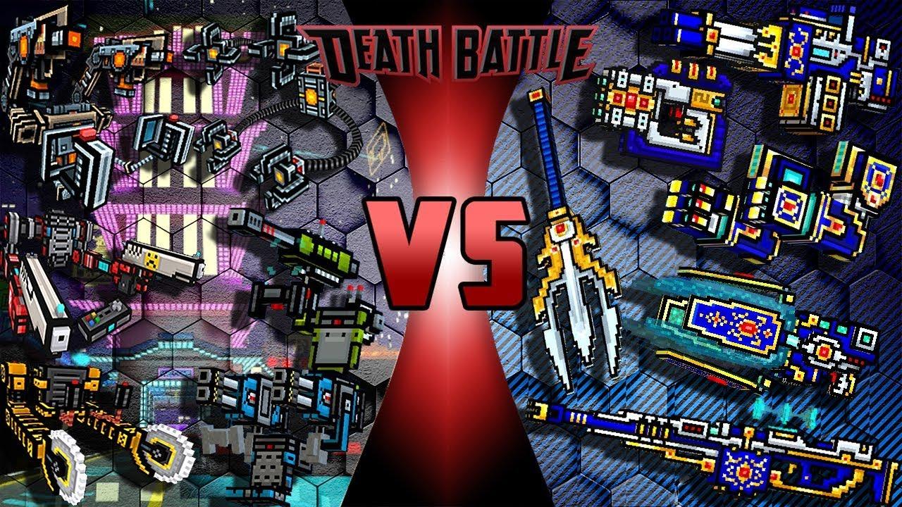 pixel gun 3d exoskeleton weapons vs clan mythical