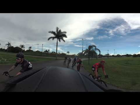 Rosewood Miami Masters Criterium Filmed 360 Degree - *Crash @ 18:30* Miami Ft Lauderdale Bike Race