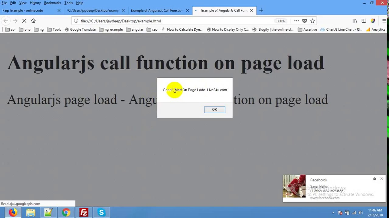 AngularJS Call Function on Page Load Example