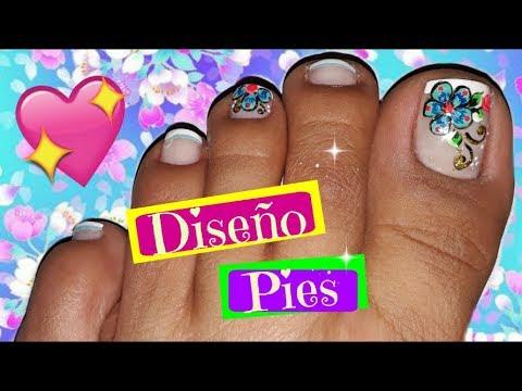 Diseno De Unas Pies De Flores Facil Easy Flowers Toenail Art