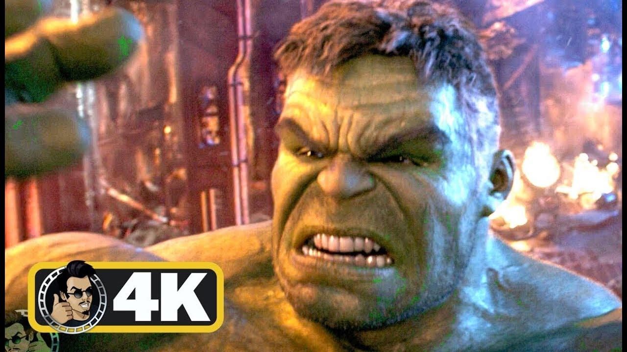 "avengers: infinity war ""hulk vs thanos"" fight scene (4k ultra hd"