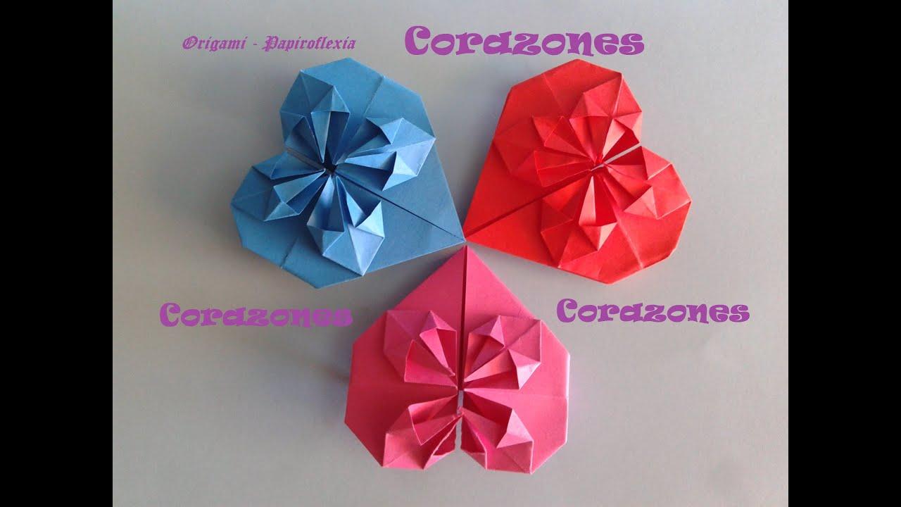 Origami papiroflexia coraz n para decorar o regalar san - Corazones de san valentin ...
