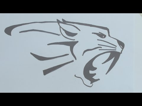 How to draw the tiger head tribal tattoo