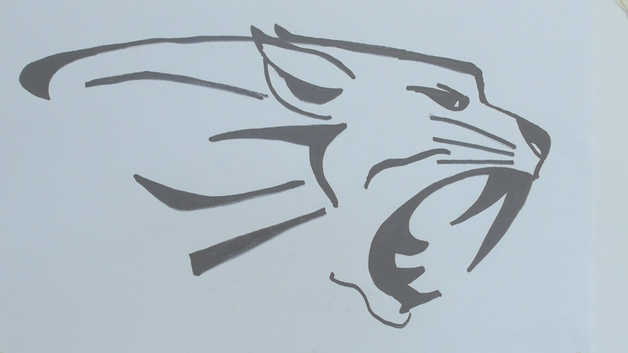 How To Draw The Tiger Head Tribal Tattoo Youtube