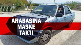 Korona Virüsten Korunmak İçin Otomobiline Maske Taktı