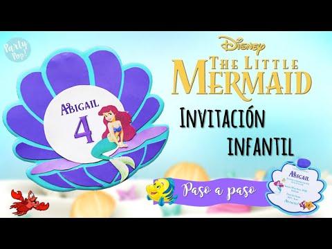 La Sirenita Ariel Invitacion Infantil Diy Para Tu