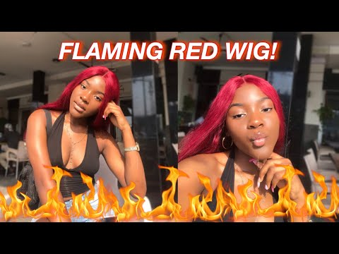 GRWM: WHO SAYS BLACK GIRLS CAN'T WEAR COLOR?! THE HOTTEST WINE RED WIG Ft Lavy Hair | Stephanie Moka
