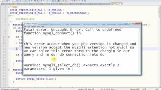 Fatal error Uncaught Error Call to undefined function mysql connect in