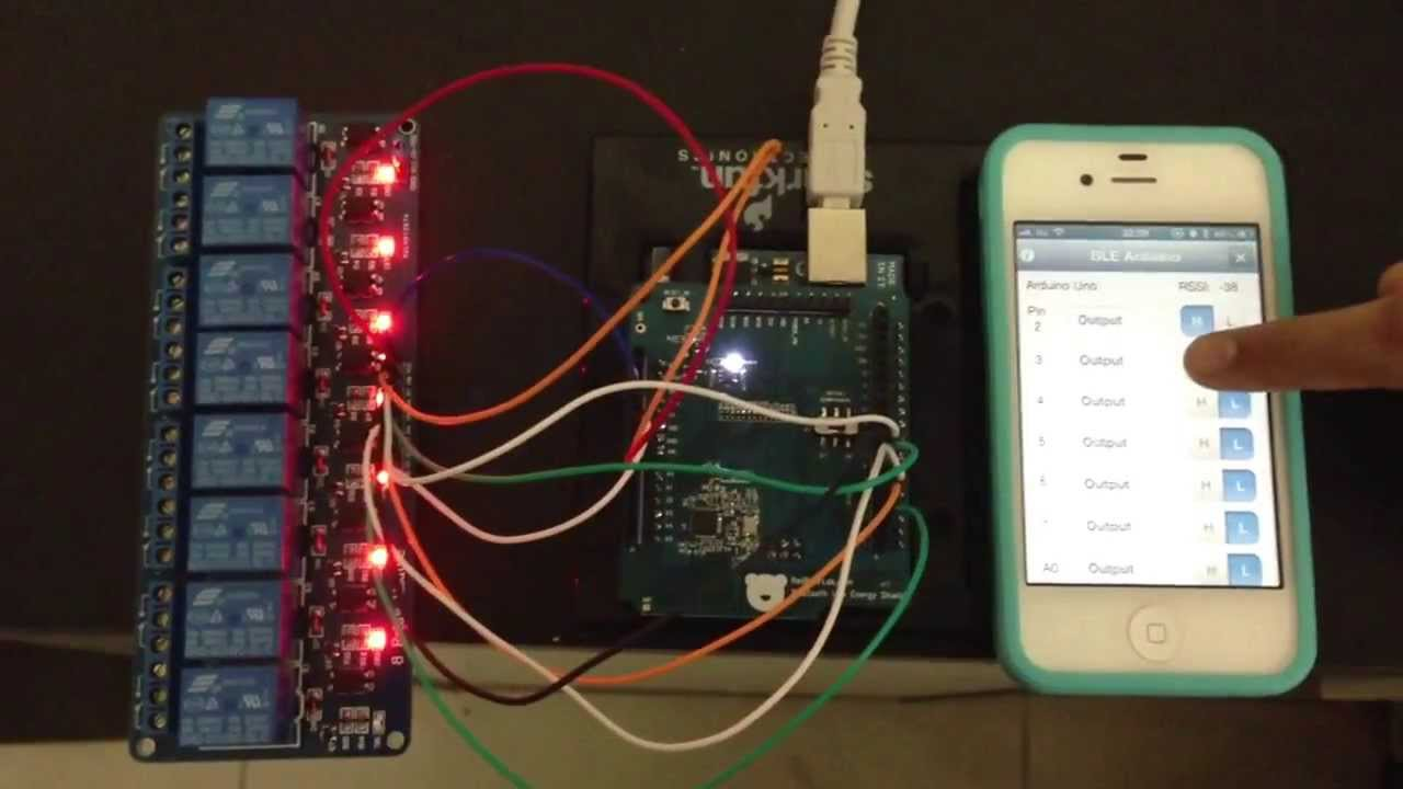 Relay control with iphone arduino and ble shield youtube