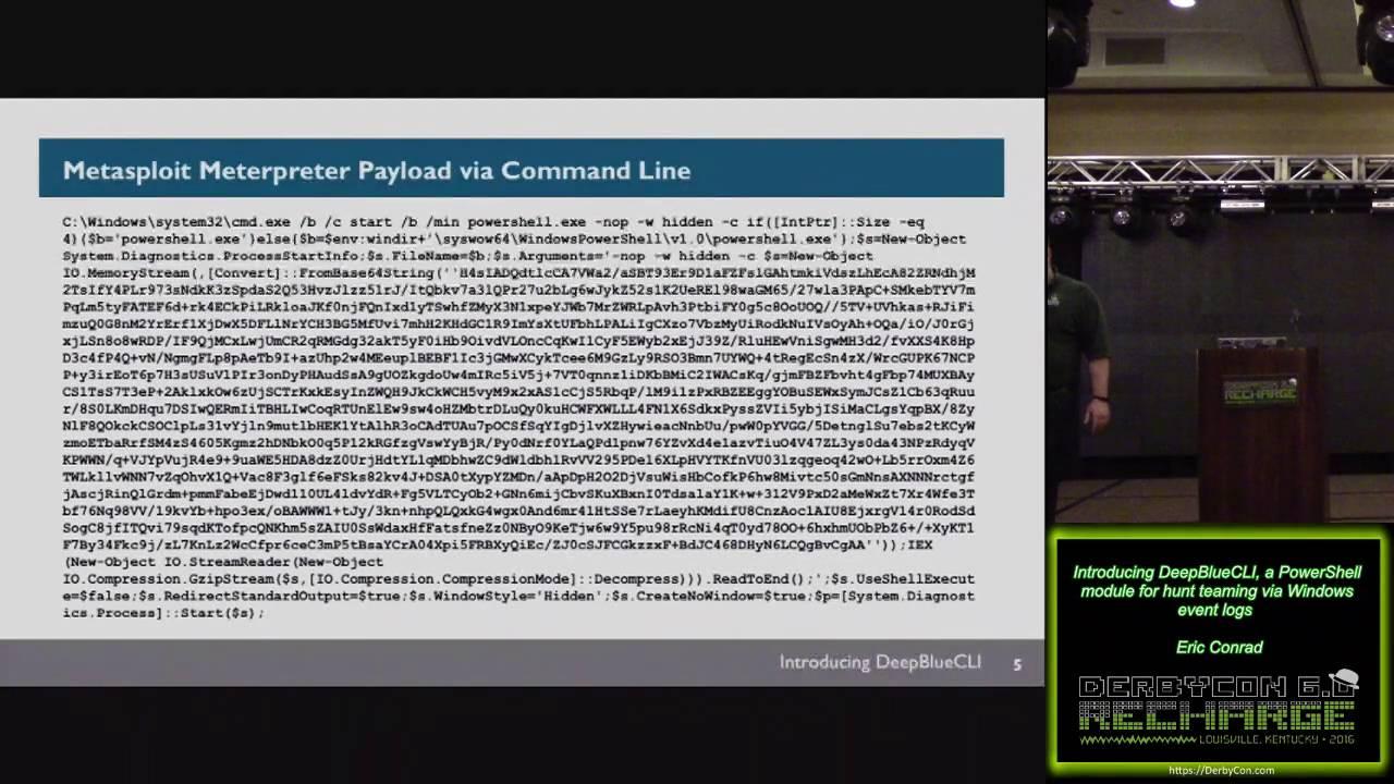 211 Introducing DeepBlueCLI a PowerShell module for hunt teaming via  Windows event logs Eric Conrad