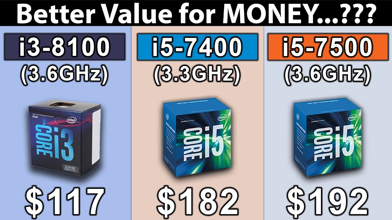 i3 8100 (3.6GHz) vs i5 7400 (3.3GHz) vs i5 7500 (3.6GHz) | Which is a Better Value For Money ...