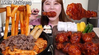 ASMR Mukbang|Eating Korean spicy chicken and spicy rice cake with noodles and beef