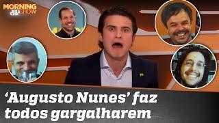 André Marinho faz bancada gargalhar com imitação de Augusto Nunes